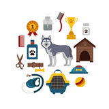 Pet grooming concept with dog care elements. Pet grooming:bowl, collar, leash. Pet grooming poster vector illustration. Colorful Pet grooming concept in flat vector illustration