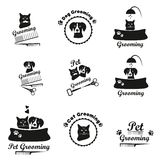 Pet grooming logo, label, bages black emblem collection Royalty Free Stock Photos