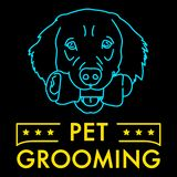 Pet Grooming Neon Sign Illustration. A vector illustration of Pet Grooming Neon Sign stock illustration