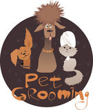 Pet Grooming. Service illustration with two dogs of different breeds, a cat with a towel on it's head and original lettering, ESP 8 vector illustration, no vector illustration