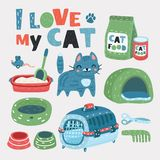 Pet Grooming set. Vector cartoon set of cat pets accessories. Litter, carrying box, grooming, boil, Dry and canned food, cute cat on white background vector illustration