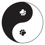 Pet harmony. Yin Yang symbol with paw prints Royalty Free Stock Image