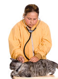 Pet Health. A preteen girl is checking the heart rate of her pet cat, isolated against a white background Royalty Free Stock Photos