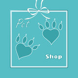 Pet heart logo, dog paw logo, zoo shop Royalty Free Stock Photography