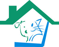 Pet home logo. Illustration art of a pet home logo with isolated background Royalty Free Stock Photo