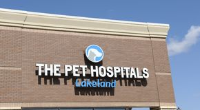 The Pet Hospitals Lakeland Business Sign. Lakeland TN veterinary clinic offers complete pet care for dogs & cats with exams, pet dental, veterinary surgery Royalty Free Stock Images