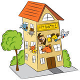 Pet Hotel. An image of a cat and dog pet hotel stock illustration