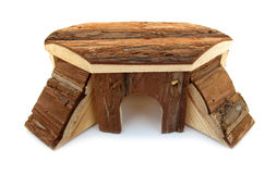 Pet house made of natural wood Royalty Free Stock Photo