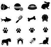 Pet icons black Royalty Free Stock Photos