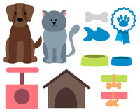 Pet icons. Cat, dog and accessories. Vector illustration Stock Photo