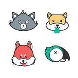Pet icons. Cute cartoon cat, dog, hamster and parrot Royalty Free Stock Photography
