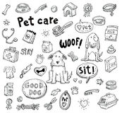 Pet icons doodle set, vector illustration. Stock Image