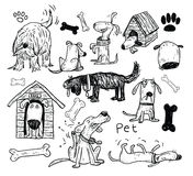 Pet icons doodle set, vector illustration. Stock Photo