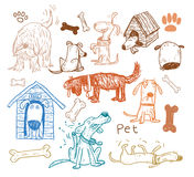 Pet icons doodle set, vector illustration. Royalty Free Stock Images