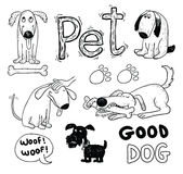 Pet icons doodle set, vector illustration. Stock Photography