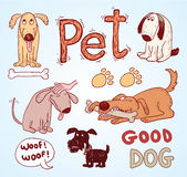 Pet icons doodle set, vector illustration. Royalty Free Stock Photography