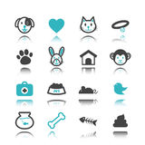 Pet icons with reflection Royalty Free Stock Photography