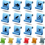 Pet Icons - Scroll. Set of 12 3D pet icons - scroll style Stock Photography