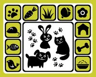 Pet icons set. Cartoon pets and his meal isolated on a white background Stock Photo