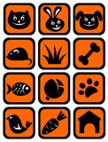 Pet icons set. Cartoon pets and his meal isolated on a white background Royalty Free Stock Images
