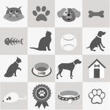 Pet icons set. Cartoon  illustration Royalty Free Stock Photography