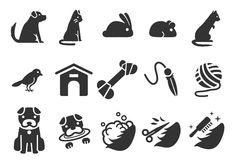 Pet icons set 1. Flat Design Illustration: Pet icons set 1 Stock Photography