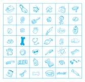 Pet icons set, hand drawn  illustration.  Stock Photos