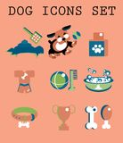 Pet icons set vector doggy Royalty Free Stock Image