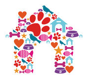 Pet kennel shape made with icon set. Dog house shape made with animal care icons set Stock Photo