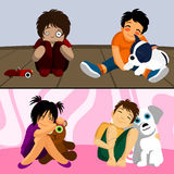 Pet with kids Royalty Free Stock Images