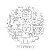 Pet l'amico nel cerchio - illustrazione al tratto di concetto per la copertura, l'emblema, distintivo Gli animali domestici assot illustrazione vettoriale