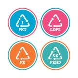 PET, Ld-pe and Hd-pe. Polyethylene terephthalate. Stock Photography