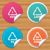 PET, Ld-pe and Hd-pe. Polyethylene terephthalate. Royalty Free Stock Images