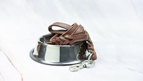 Pet leather leashes on stainless bowls. Pet supplies and accessories concept. Pet leather leashes on stainless bowls stock photos