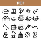 Pet Line Icon Set Vector. Animal Care. Grooming Pet Symbol. Dog, Cat Veterinar Shop Icon. Thin Outline Web Illustration stock illustration