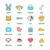 Pet  line icons with flat colors Royalty Free Stock Image