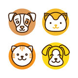 Pet linear icons. Vector logo design template for pet shops, veterinary clinics and homeless animals shelters - mono line icons of cats and dogs - badges for Stock Photography