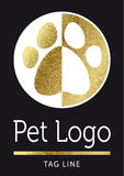 Pet logo in golden. Pet logo in bright gold Royalty Free Stock Image