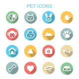 Pet long shadow icons. Flat vector symbols Royalty Free Stock Images