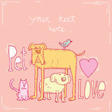Pet love card,vector illustration Royalty Free Stock Photography