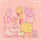 Pet love card,vector illustration Stock Photography