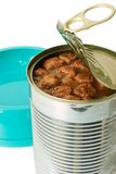 Pet meal. Cat food in an opened can closeup with a feeding barge isolated on white Royalty Free Stock Photos