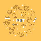 Pet minimal outline icons. Vector pictogram set Royalty Free Stock Images
