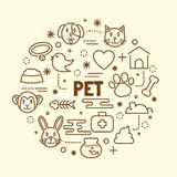 Pet minimal thin line icons set. Vector illustration design elements Stock Image