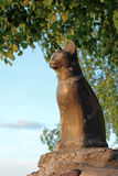 Pet monument. Cat statue on sky background Stock Photography