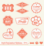 Pet Name Tag Labels and Stickers. Collection of retro style pet dog and pet cat labels and stickers Royalty Free Stock Photography