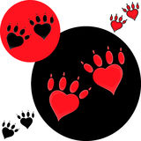 Pet o logotipo do coração, logotipo da pata do cão, loja do jardim zoológico Imagem de Stock