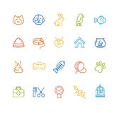Pet Outline Icon Set. Vector. Colorful Pet Outline Icon Set. Vector illustration Stock Photos