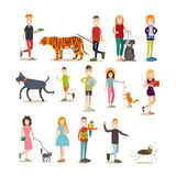 Pet owners with their animals vector flat icon set. Pet owners vector icon set. People with their pets cat, dog, goldfish, rabbit, parrot cockatoo, green lizard Royalty Free Stock Photos