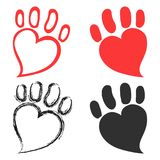 Pet paw hearts design Royalty Free Stock Image